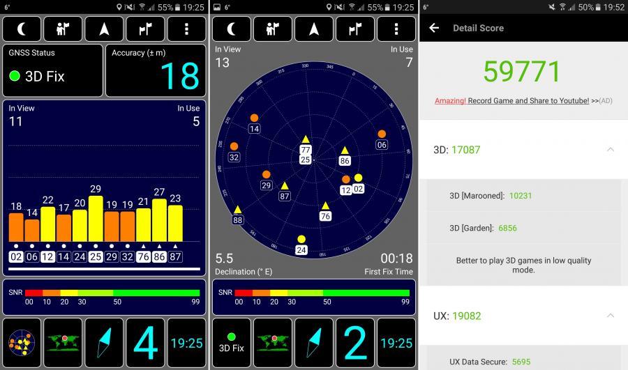 Samsung Galaxy A5 2017 - GPS test, AnTuTu Benchmark